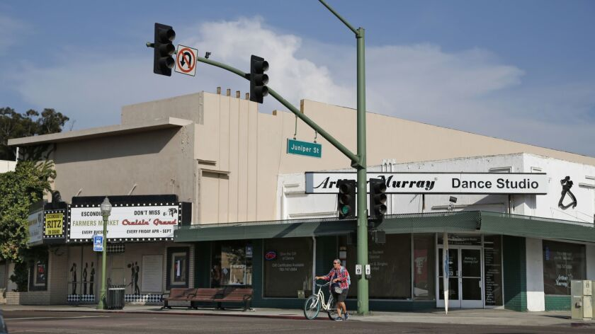 The Arthur Murray Dance Studio and Ritz Theater are at the corner of Grand Ave. near Juniper St. in Escondido, shown on August 15, 2018. (Photo by K.C. Alfred/San Diego Union-Tribune)