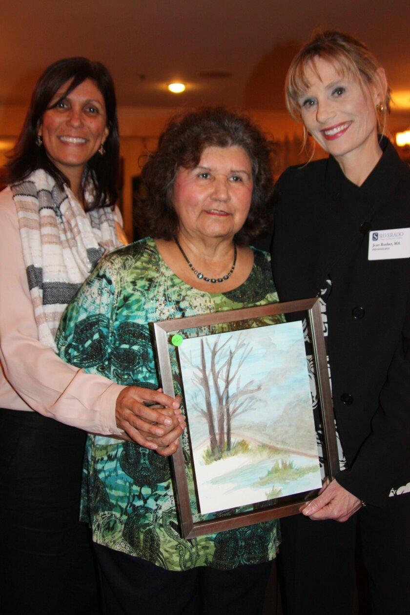 Guest Shelita Weinfield, Margaret Barnes, Silverado resident and artist, and Jean Busher, Silverado Escondido administrator.