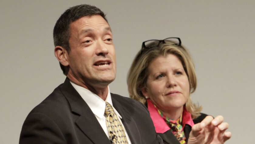 LOS ANGELES, CA. MAR. 20, 2014. Supervisorial candidate John Duran and Pamela Conley Ulich during th