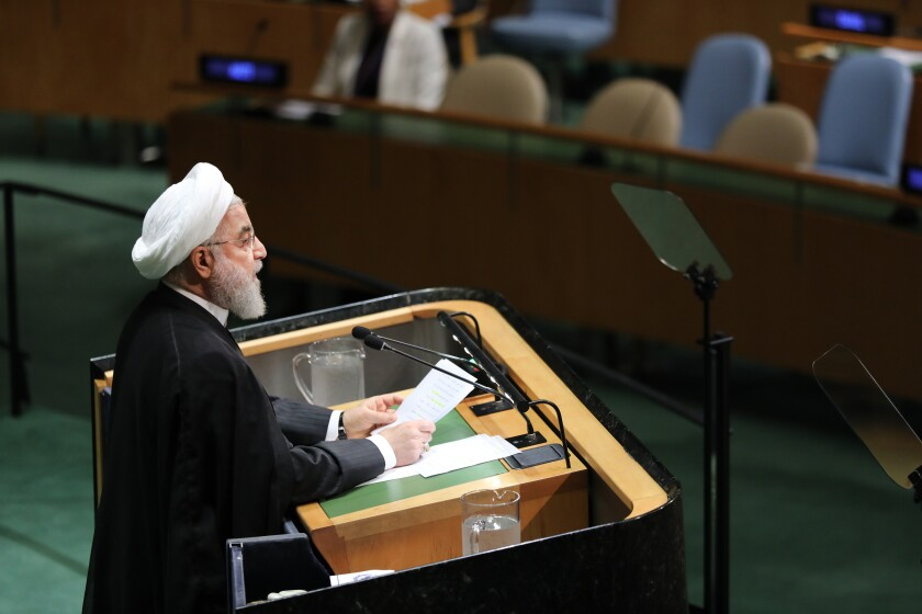 Iranian President Hassan Rouhani speaks at the 74th United Nations General Assembly on Wednesday in New York City.