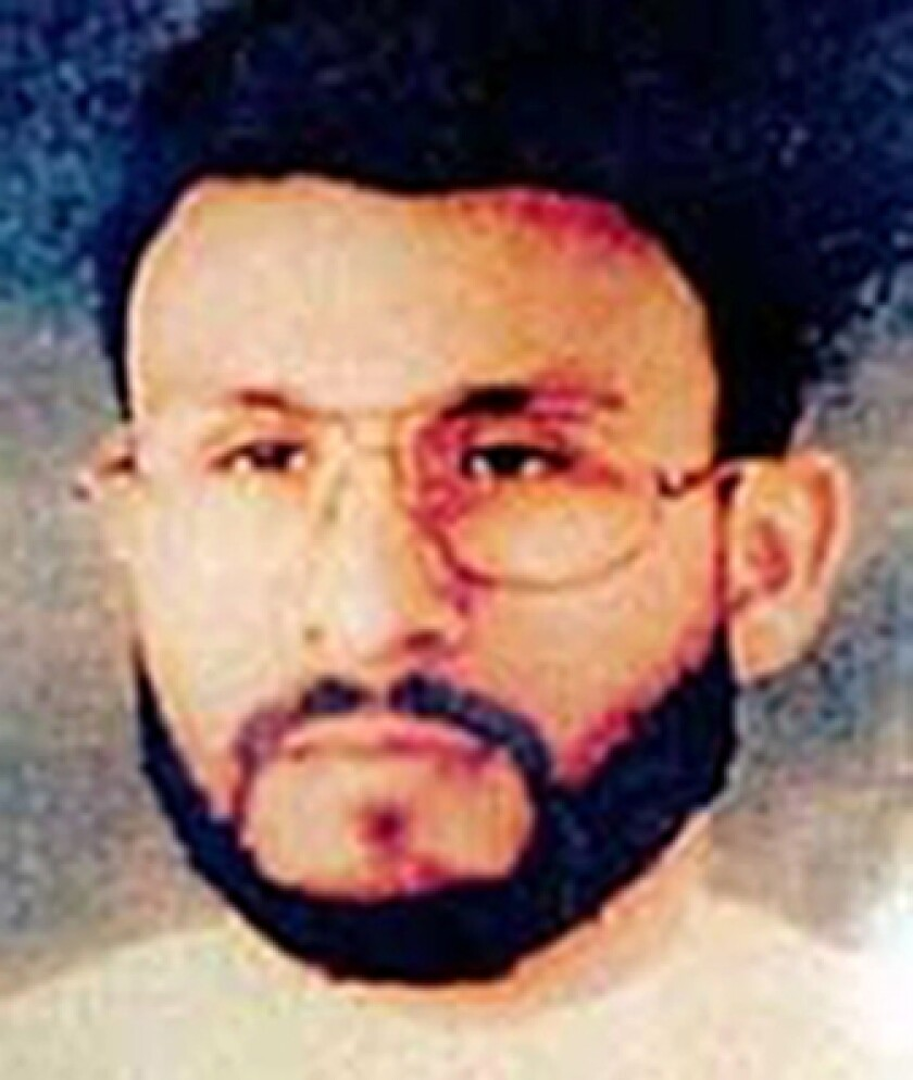 """FILE - This undated file photo provided by U.S. Central Command, shows Abu Zubaydah, date and location unknown. A federal appeals court hearing the case of a Guantanamo Bay inmate who was subjected to brutal treatment by the CIA after being detained following the 9/11 attacks took the rare step of calling """"enhanced interrogation techniques"""" torture. The Ninth U.S. Court of Appeals in San Francisco said in a ruling Wednesday, Sept. 18, 2019, allowing Abu Zubaydah's lawyers to question two former CIA contractors that the Palestinian man """"was tortured."""" (U.S. Central Command via AP, File)"""