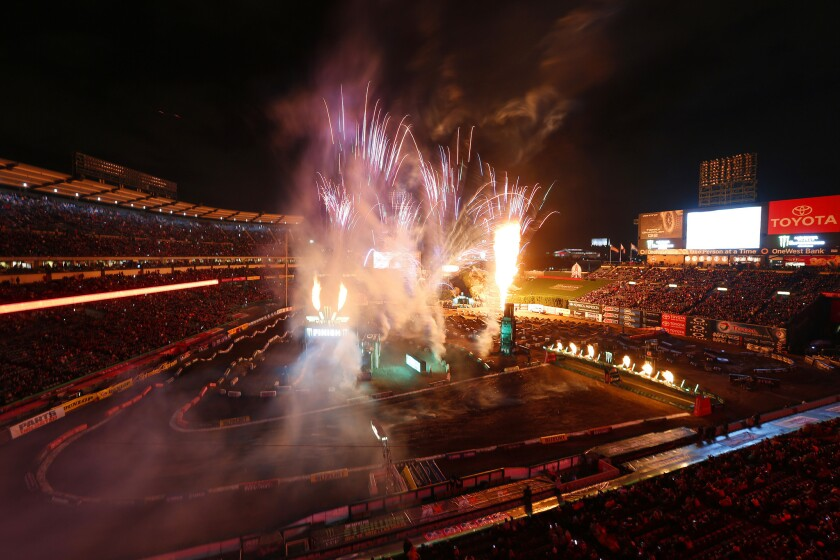 A variety of pyrotechnics open an evening of Monster Energy AMA Supercross racing at Angel Stadium on Jan. 23, 2016.