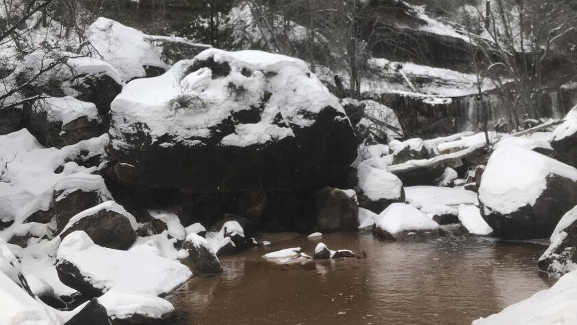 The creek where a hiker was rescued after being stuck in quicksand in Zion National Park in Utah.