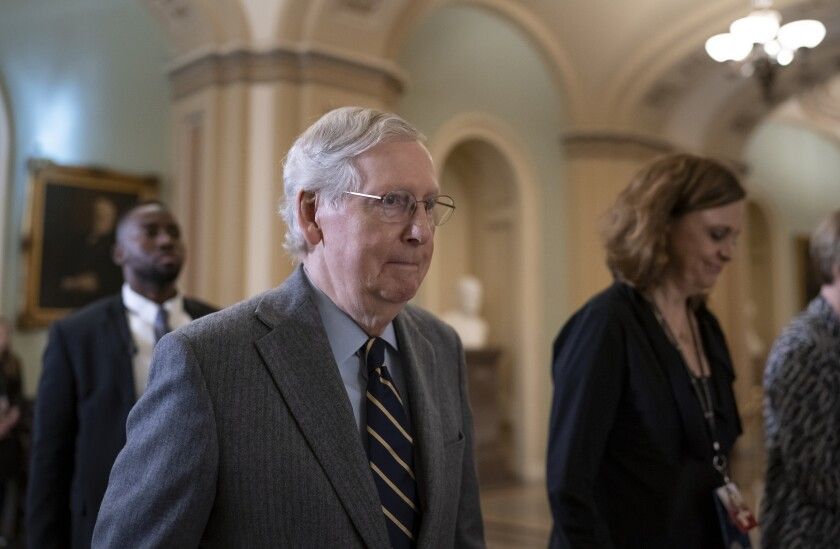 Senate Majority Leader Mitch McConnell, R-Ky., leaves after the Senate heard closing arguments in the impeachment trial of President Donald Trump on charges of abuse of power and obstruction of Congress, at the Capitol in Washington, Monday, Feb. 3, 2020. (AP Photo/J. Scott Applewhite)