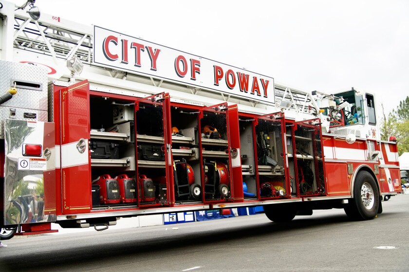 The Poway Fire Department's ladder truck.