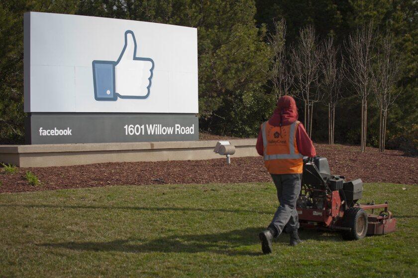 Facebook's corporate headquarters in Menlo Park, Calif.