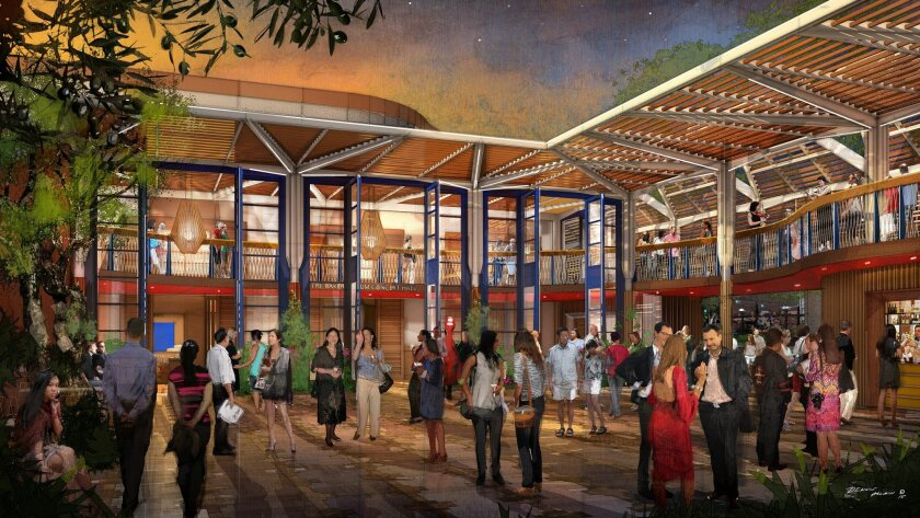 Interior courtyard of Conrad Prebys Performing Arts Center, the La Jolla Music Society's proposed new home on Fay Avenue. It will feature two-story double doors, a wrap-around terrace, olive trees, succulents and other ornamental landscaping.