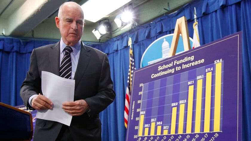 Gov. Jerry Brown, unveiling his revised budget plan in May, signed a $183.2-billion state spending plan on June 27.