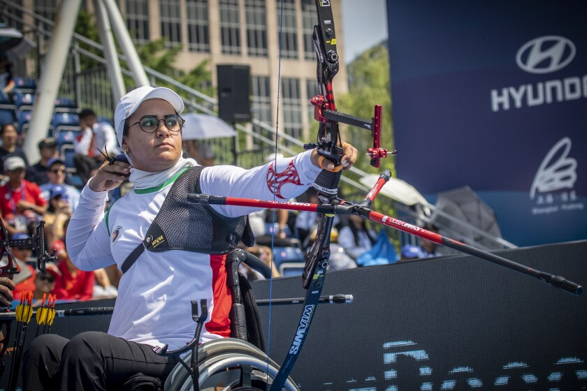 Zahra Nemati of Iran during the Women's Recurve team finals during the Shanghai 2019 Hyundai Archery World Cup Stage 2.