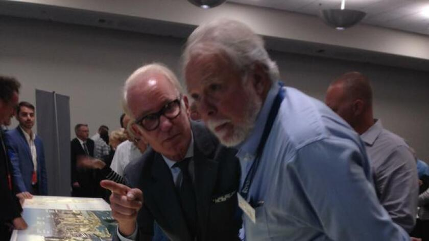 Morgan Dene Oliver, left, with Port Commissioner Bob Nelson.