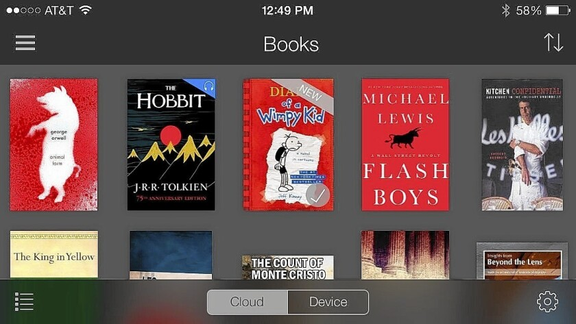 The Kindle Unlimited subscription service, shown on an iPhone, competes against Oyster and Scribd.