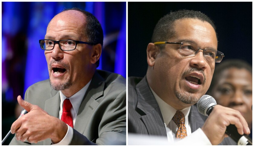 Democratic National Committee contenders Tom Perez, left, and Keith Ellison.