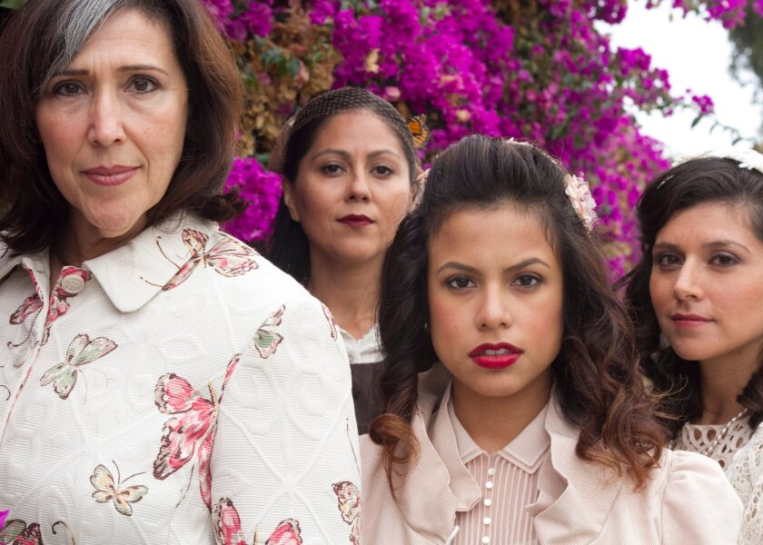 """Catalina Maynard, Sandra Ruiz, Jacqueline Lopez and Elisa Gonzalez (left to right) in San Diego Rep's """"In the Time of the Butterflies."""""""