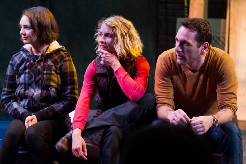 "Christina Flynn, Amanda Morrow and John DeCarlo in New Village Arts' ""Stage Kiss."""