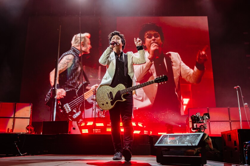 Singer Billie Joe Armstrong of Green Day during the Hella Mega Tour at Petco Park in downtown San Diego on August 29, 2021.