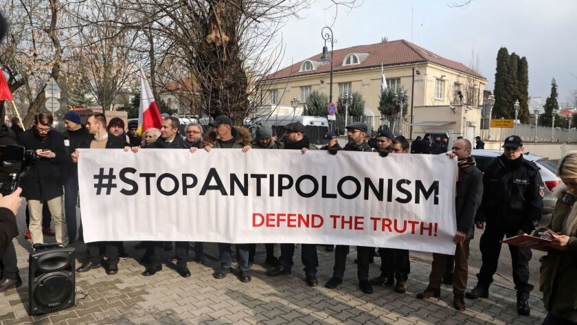Demonstration Stop Antipolonism defend the truth in Warsaw, Poland - 15 Feb 2019