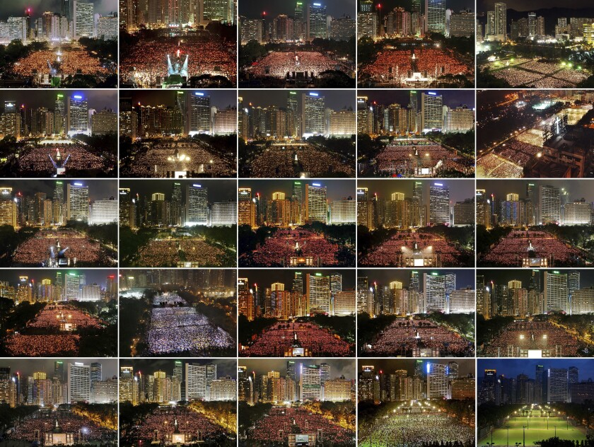 This combination of images between 1997 and 2021 shows thousands of people attend a June 4th candlelight vigil in Hong Kong's Victoria Park to mark the anniversary of the military crackdown on a pro-democracy student movement in Beijing, except for this year at bottom right. Hong Kong is the only region under Beijing's jurisdiction that holds significant public commemorations of the 1989 crackdown and memorials for its victims. Hong Kong has a degree of freedom not seen on the mainland as a legacy of British rule that ended in 1997. Top row from left are 1997, 1998, 1999, 2000, and 2001. Second row from left are 2002, 2003, 2004, 2005 and 2006. Third row from left are 2007, 2008, 2009, 2010 and 2011. Fourth row from left are 2012, 2013, 2014, 2015 and 2016. Bottom row from left are 2017, 2018, 2019, 2020 and 2021. (AP Photo)