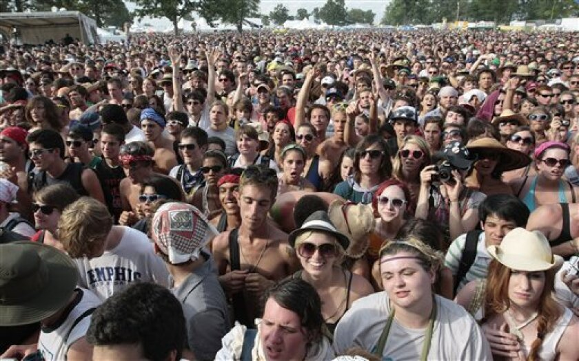 FILE - In this June 12, 2009 file photo, Bonnaroo fans gather to watch the Yeah Yeah Yeahs during the Bonnaroo Arts and Music Festival in Manchester, Tenn. (AP Photo/Dave Martin, file)