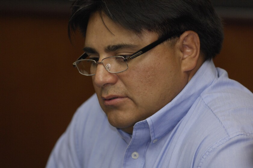 Coliseum technology manager Leopold Caudillo, Jr., at a meeting of the Los Angeles Memorial Coliseum Commission in July 2011.