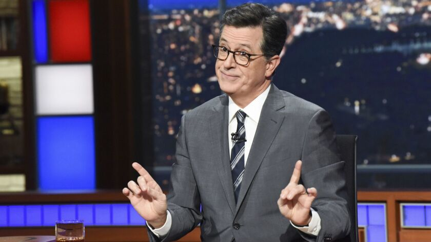 """This Nov. 6, 2018 photo released by CBS shows host Stephen Colbert on the set of """"The Late Show with"""