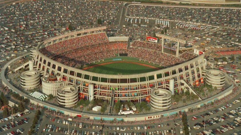 Aerials of Jack Murphy Stadium (later known as Qualcomm Stadium and SDCCU Stadium) circa 1984.