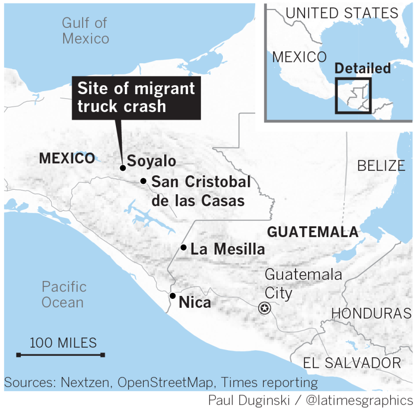 Site of migrant truck crash
