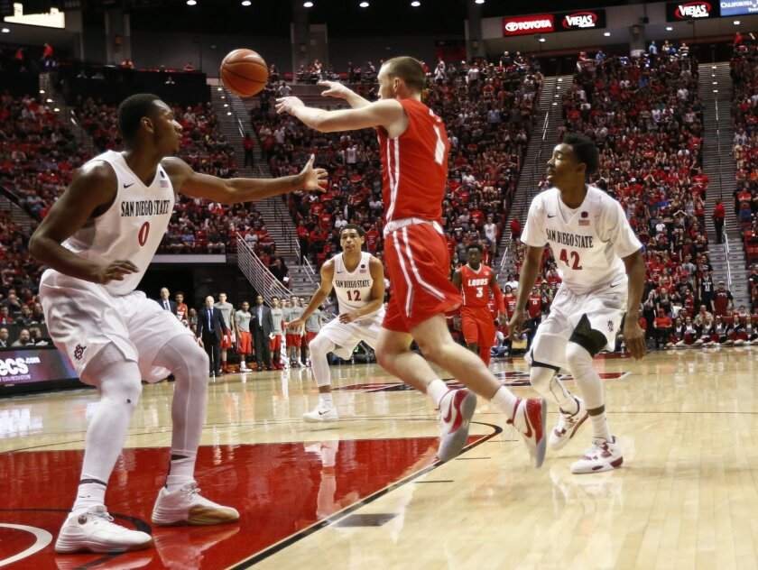 New Mexico guard Cullen Neal fires a pass through the San Diego State defense of forward Skylar Spencer, left, and Jeremy Hemsley during the first half of a NCAA college basketball game  Saturday, Feb. 6, 2016, in San Diego. (AP Photo/Lenny Ignelzi)