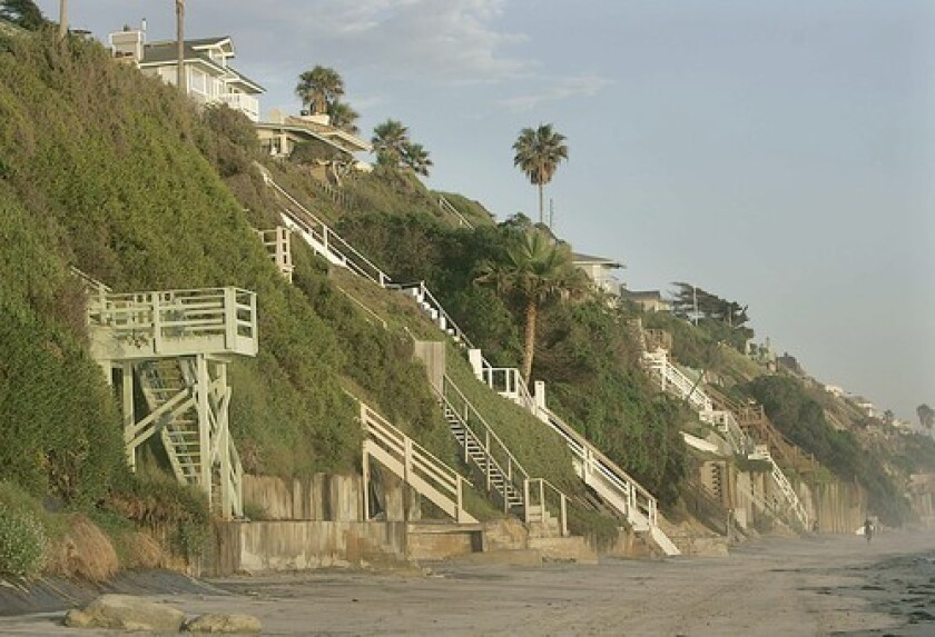 Surfers enjoy Leucadia's tucked away beaches. Oceanfront development may change the area's funky ambience.