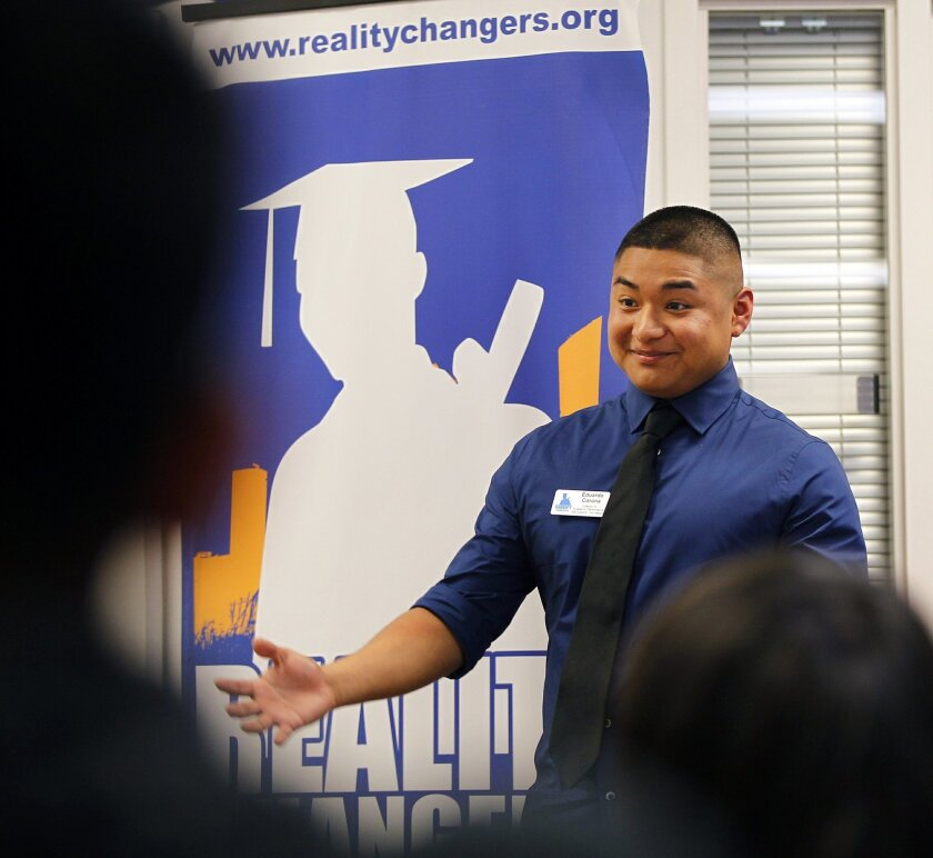 Once a student in the program, Eduardo Corona is now the Director of Academic Performance at Reality Changers, a nonprofit organization that gives at-risk and disadvantaged teens the support they need to go to college.