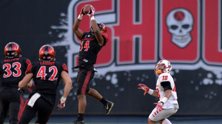 San Diego State safety Tariq Thompson, making one of his team-high five interceptions last year, was among just four true freshmen to play for the Aztecs during the 2017 season.