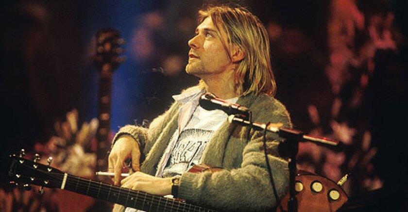 The Nirvana singer performs an unplugged set for MTV in this photo.