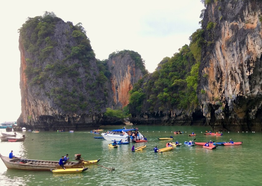 Phang Nga, Thailand-- Some of the most dramatic ?hong? entrances are becoming overcrowded, and smart