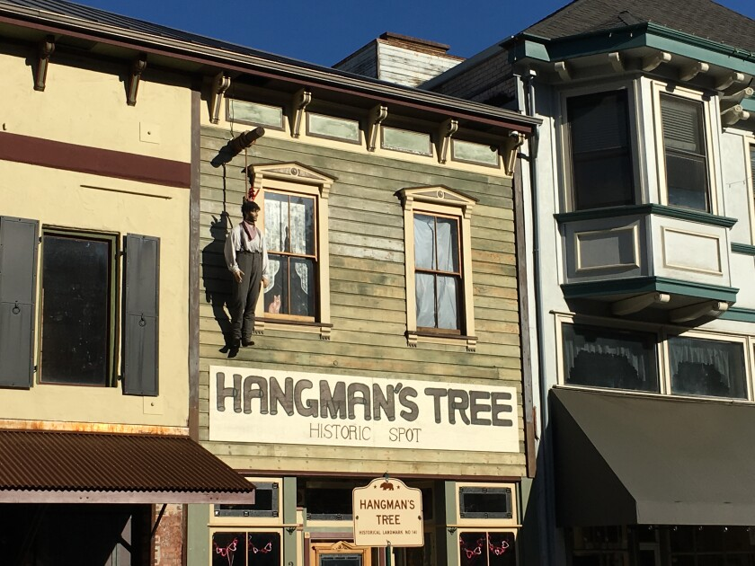 A mannequin hangs from the Hangman's Tree in Placerville.