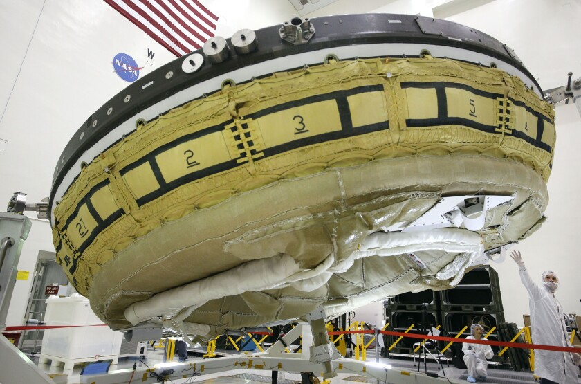 NASA's saucer-shaped test vehicle will be flying into near space in June to test new technologies for landing spacecraft on Mars.