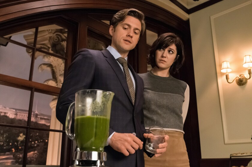 "Aaron Tveit as Gareth and Mary Elizabeth Winstead as Laurel in CBS' ""BrainDead."""