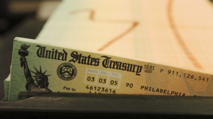 Social Security checks ready to be mailed from a service center in Philadelphia.
