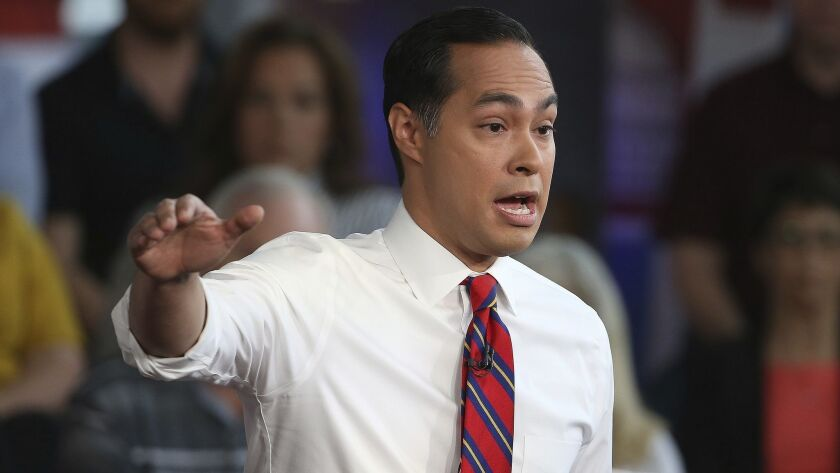 Democratic presidential candidate Julian Castro answers a question during a FOX News Channel town ha