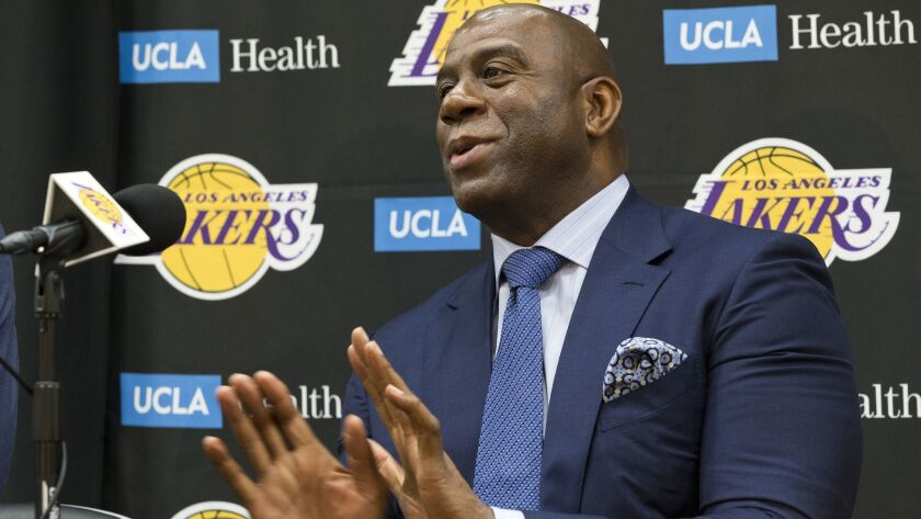 Magic Johnson says he will step down as Lakers president of basketball operations if he can't persuade an elite free agent to sign with his club either this summer or the next.