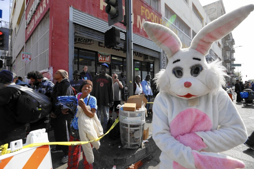 The Easter Bunny visits Skid Row