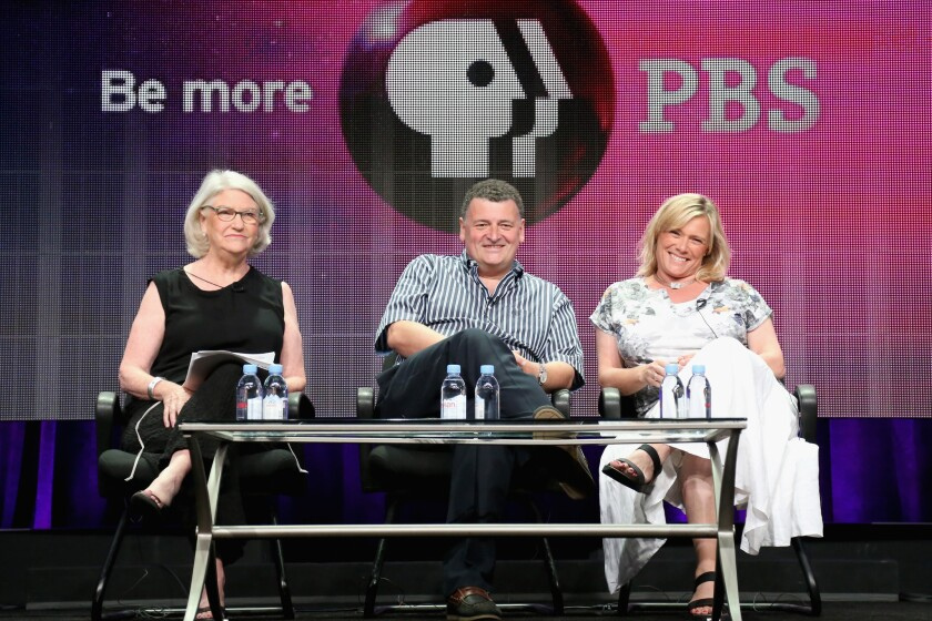 """""""Sherlock"""" producer Rebecca Eaton, left, writer-producer Steven Moffat and his wife and executive producer Sue Vertue at the summer TCA press tour at the Beverly Hilton Hotel"""