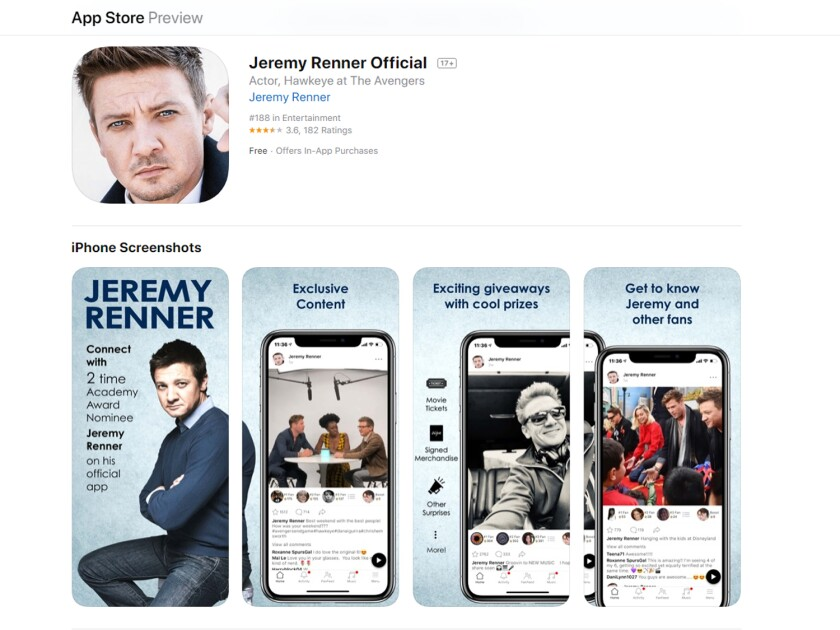 Screenshot of the Jeremy Renner App