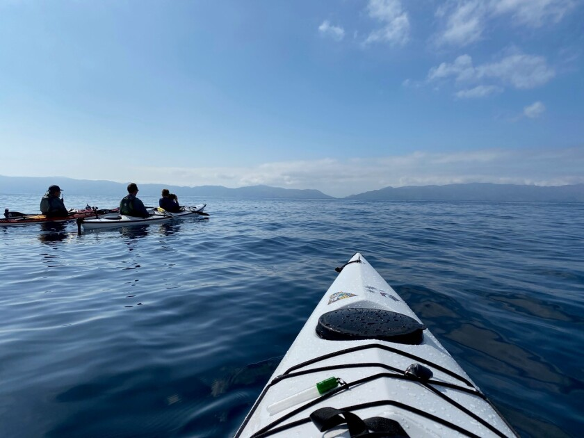 Paddling to Catalina, photographed by Alyce Fernebok