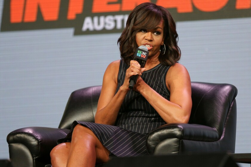 First Lady Michelle Obama speaks at a panel discussion during South by Southwest in Austin, Texas.