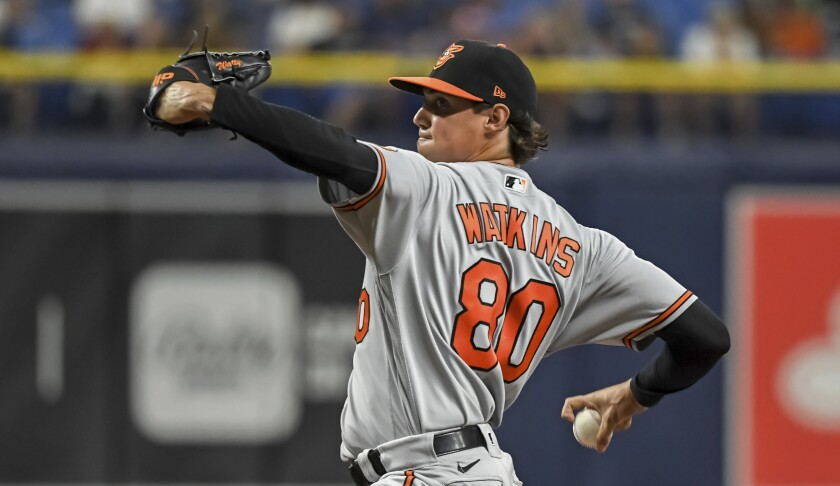 Baltimore Orioles starter Spenser Watkins pitches against the Tampa Bay Rays during the first inning of a baseball game Monday, July 19, 2021, in St. Petersburg, Fla.(AP Photo/Steve Nesius)