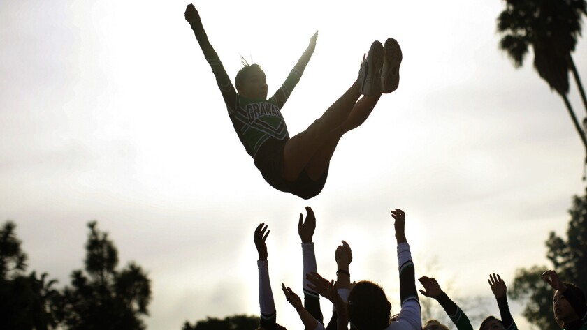 A file photo of cheerleaders practicing in the San Fernando Valley.