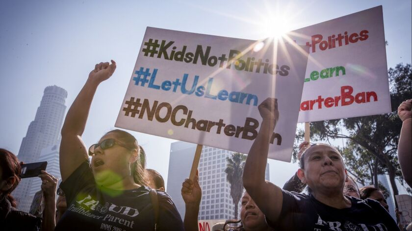 LOS ANGELES, CALIF. -- TUESDAY, JANUARY 29, 2019: Hundreds of charter supporters turn out to protes