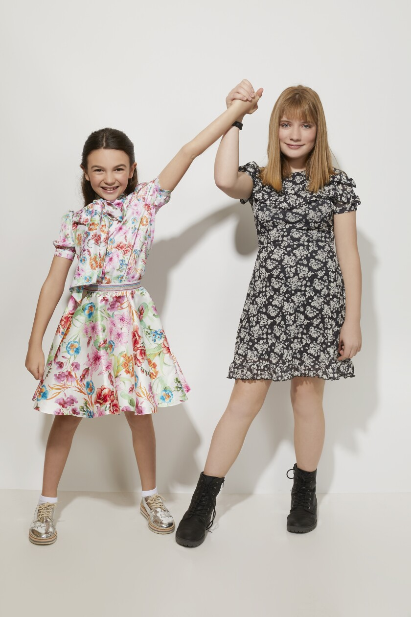 """Brooklynn Prince and Hilde Lysiak of Apple TV+'s """"Home Before Dark"""" pose for a portrait during the Television Critics Assn. biannual press tour in Pasadena in January."""