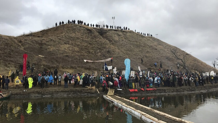 In Cannon Ball, N.D., protesters against the Dakota Access oil pipeline gather at a hill where they say burial sites are located.