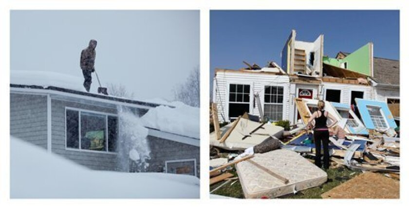 In this combination photo, Doug Hamrick shovels snow off of his family's roof in Anchorage, Alaska on Thursday, Jan. 12, 2012, left, and Katie Cramer looks over the front of her destroyed house in Dexter, Mich. on Friday, March 16, 2012 after a tornado touched down on Thursday night. America's weather is stuck on extreme. Nearly 11 feet of snow has fallen on Anchorage this winter, where the city has already hauled away 250,000 tons of snow. Yet not much snow dropped on the Lower 48. The first three months of the year have seen twice the normal number of tornadoes, killing 55 people. And 36 states broke or tied daily high temperature records on Thursday, March 15, 2012. (AP Photo/Loren Holmes, Carlos Osorio)