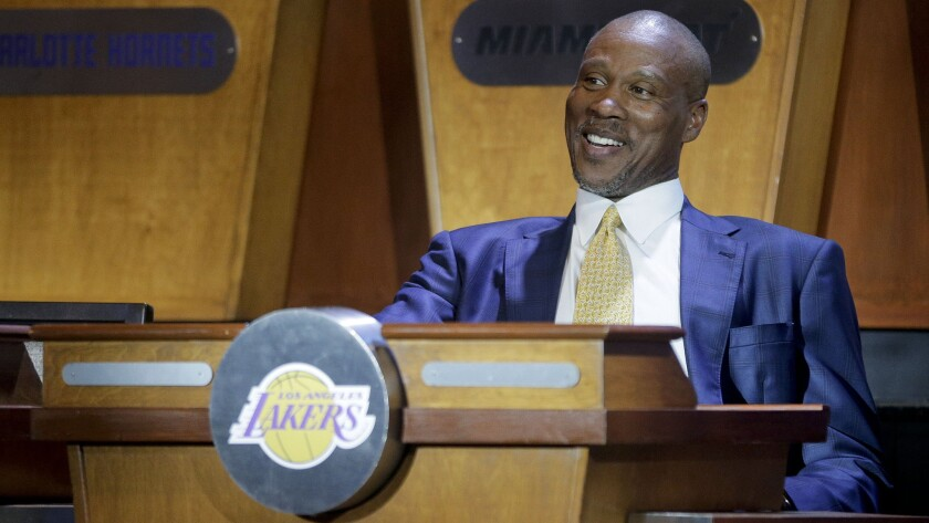 Lakers Coach Byron Scott smiles while representing the team at the NBA draft lottery in New York on Tuesday. The Lakers secured the No. 2 pick in the draft via the lottery.